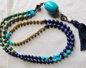 Buddhist Chakra Mala 108 bead  Necklace  mala / Wrist  mala, Yoga jewelry, Prayer beads - Womens tassel necklace, Etsy