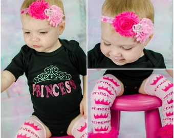 Princess Baby Girl Clothes Rhinestone Pink Princess Crown Headband Leg Warmers Options Newborn Baby Girl Gift Set
