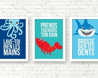 Règles de la salle de bain art, prends ton bain, lave tes mains, brosse tes dents, déco salle de bain, imprimés muraux, animaux marins