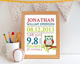 Hooty owls Nursery Art,  Baby Nursery Decor, Birth Announcement Wall Art,Baby Nursery Art. Birth Details Print, birth stat print A-1029