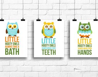 Hooty owls always take a bath, owls nursery decor, Kids bathroom Decor, Kids Art, Baby Decor, Nursery print, kids bathroom rules, A-3054