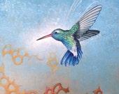 HUMMINGBIRD Art Print with Matt from an original painting By Jennifer Barrineau