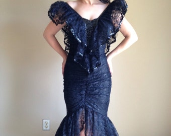 Reserved for Connie Witchy Woman 80s Black Lace Sequined wiggle Mermaid Dress