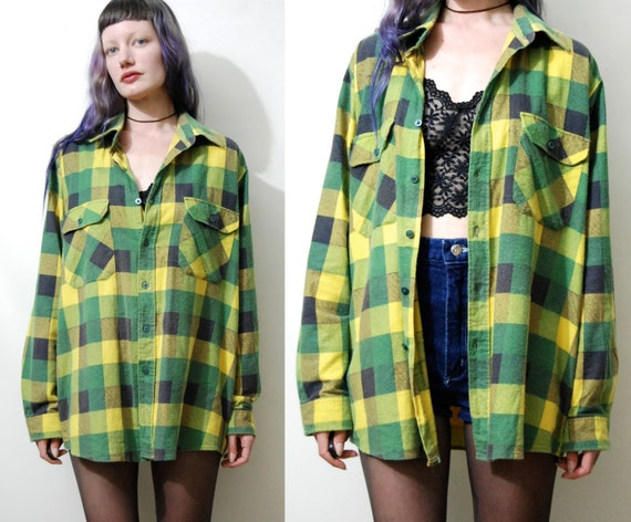 90s vintage flannel shirt green yellow khaki plaid soft for Green and black plaid flannel shirt