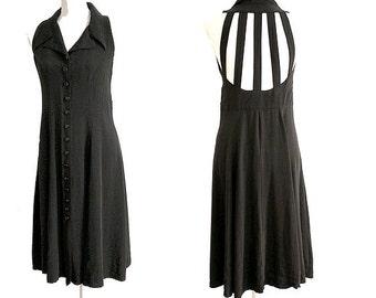 90s black  CAGE DRESS  size 2 cage back