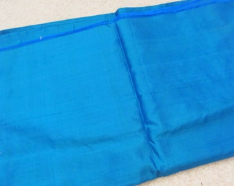 "Fabric Solid Royal Blue Dupioni Silk Fabric Yardage - 40"" x 88"" Total - Unused Antique"