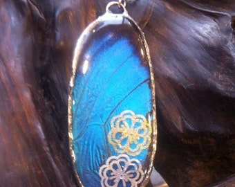 Gorgeous Real Morpho Butterfly Wing Pendant