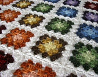Afghan - Granny Square Afghan - Crochet Blanket - Crocheted Afghan - Crochet Afghan Crochet - Soft Blanket - Couch Blanket - Granny Square