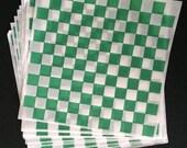 25 -12x12 GREEN Checkerboard Deli Sandwich Food Wraps,  Burger, Hot Dog, Bratwurst Lining Paper
