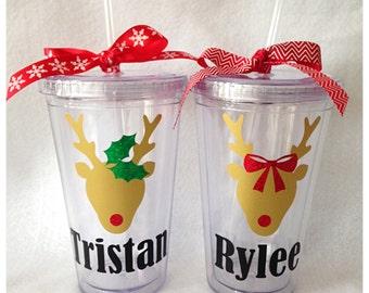 Personalized Christmas Reindeer Tumblers