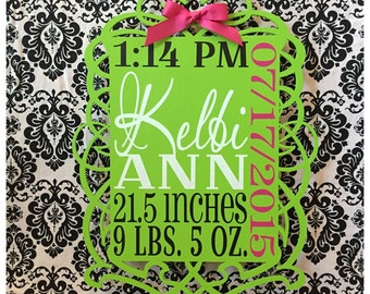 Elegant lime green baby stats board