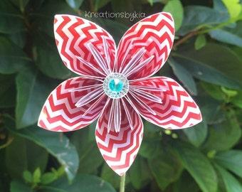 Red Chevron Origami Paper Flower with Stem // Origami Flower/Kusudama Flower Bouquet/ Centerpiece/ Baby Shower/ Nursery