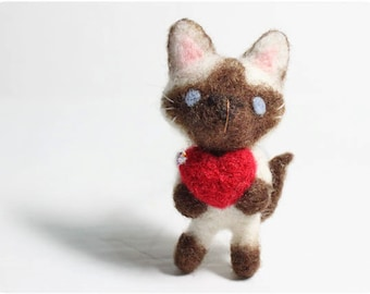 Kimmy Cat - needle felted wool brooch, crystal bead