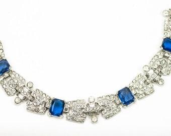 Trifari 'Alfred Philippe' KTF Sapphire Bracelet, Art Deco Pave, Baguettes, Sapphire Blue Cabochons, Deco Link Bracelet