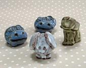 Retro Set of 4 Earthenware Miniature Animals 2 Hippopotamus and 2 Elephants
