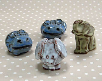 Retro Set of 4 Earthenware Miniature Animals 2 Hippopotamus and 2 Elephants