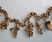 Music Charm Bracelet, Seven Gold Musician Charms, Jazz Players, Symphony Orchestra Musicians