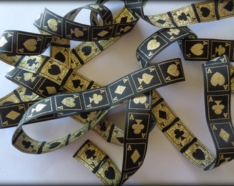 Jacquard Golden Casino Ribbon, Black / Gold, 7/8 inch wide, 1 yard, For Home Decor, Accessories, Apparel, Scrapbook, Mixed Media