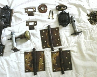 Antique brass Dexter door hardware set knobs hinges plates