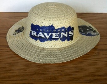 Baltimore Ravens Straw Hat, Floppy Straw Hat, Summer Fun Hat, Decoupaged Ravens, Sun Straw Hat Beach Fun Style, Ravens Tail Gate Hat