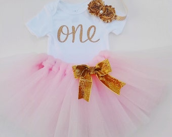 Baby Girls 1st Birthday Outfit with Head Band, Gold One First Birthday, Pink And Gold Birthday Tutu Outfit