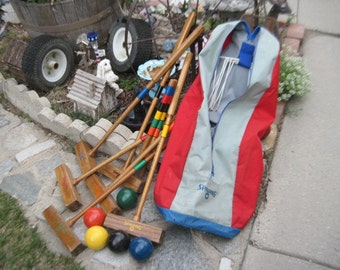Vintage Spalding Croquet Set in Carrying Bag