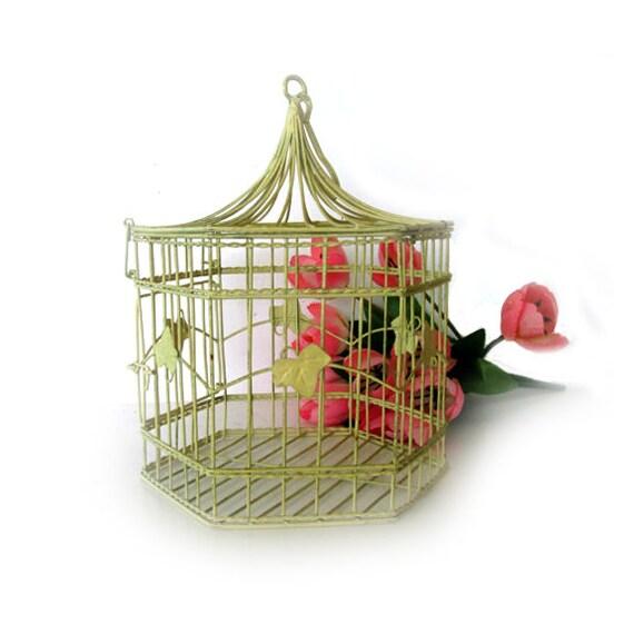 vintage metal birdcage decorative antique white hanging bird. Black Bedroom Furniture Sets. Home Design Ideas