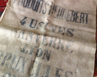 Antique French Flour Sack, Hessian Burlap Sack, Upholstery Fabric, Heudebert Company Nanterre Lyon Brussels London