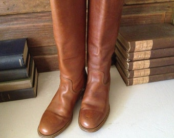 Frye Leather Riding Boots Sienna Brown Campus Size 7,5 US