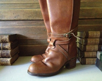 Vintage Sienna Brown Leather Tall Belted Boots ~ Size 6 - 7 US ~ Bort Carleton
