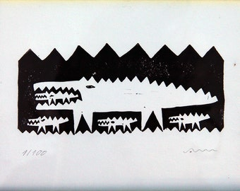 Crocodile Mother. Limited Edition Linocut print.