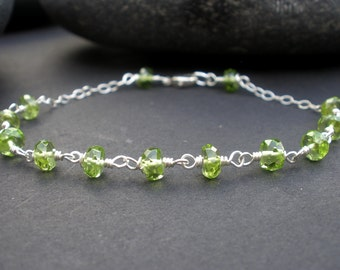 Natural Gemstone Peridot AA Grade Faceted Rondelle 5mm, 925 Sterling Silver Wire Wrapped Bracelet