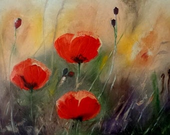 Original Painting - Poppy Fields - Red Poppies Abstract Oil Flowers Palette Knife Painting - Contemporary Art Ready To Hang On The Wall
