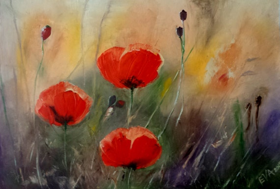 Original Painting Poppy Fields Red Poppies Abstract Oil