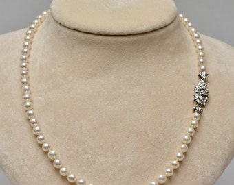Fine quality 1950 diamond clasp japanese salt water pearl necklace