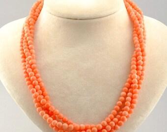 Vintage natural pink Mediterranean coral multistrand necklace