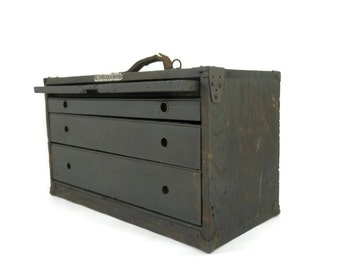 Industrial Oak Machinists Tool Box by H.W Henningsen