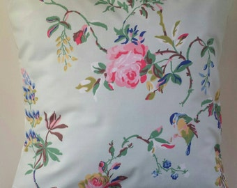 """Shabby Chic Cushion Cover in Cath Kidston Birds and Roses Blue 14"""" 16"""" 18"""" 20"""""""