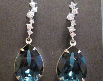 Navy Blue Swarovski Bridesmaid Earrings/Bridesmaid Jewelry/Montana Swarovski Earrings/Navy Jewelry/Bridesmaid Gift/Navy Blue Bridesmaid