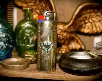 Vtg Western Turquoise Heart Lighter Case