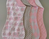Pink Argyle and Elephant Burp Cloth Set in Flannel and Terry
