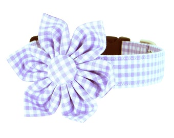 Purple Lavender Gingham Flower Dog Collar/ Purple Check Dog Collar Flower Set: Lavender Gingham
