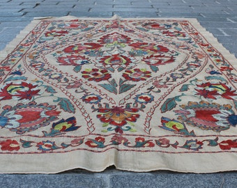 3.35' x 4.89' Suzani Embroidery Suzani Hanging Suzani Table Cover Uzbek Suzani Cover Ethnic Suzani FAST SHIPMENT with ups or fedex - 07467