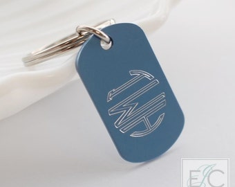 engraved monogram key chain | personalized keychain