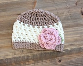 Little Girl Crochet Flower Hat- Tan and Cream with Pink Flower and Green Leaf, Baby Girl Hat, Toddler Girl Hat