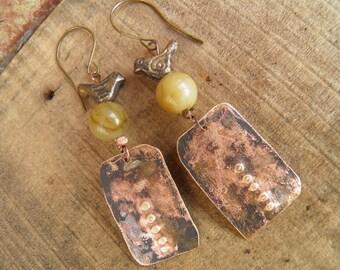 "Tribal earrings-Rustic "" Imprint "" handcraft hammered brass pendant-patinated-jasper and brass small bird"