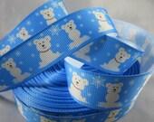 """Polar Bears - Holiday ribbon - craft supplies - baby polar bears - Cute Polar bears - Wholesale christmas ribbon, 7/8"""" Ribbon, RN14583"""