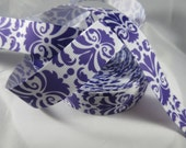 "Pattern ribbon, filler ribbon, swirl ribbon, purple , 7/8"" Ribbon, ivy ribbon, Grosgrain Ribbon, Wholesale ribbon, Craft supplies, RN14389"