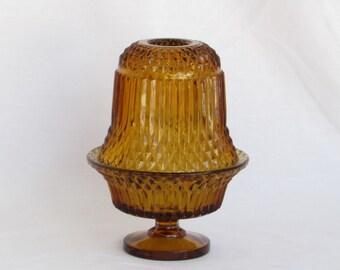 Amber Candle Holder Lantern - Two Piece Pedestal - Vintage Home Decor