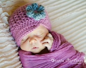 Sale! READY To SHIP! Newborn Dusty Rose Crochet Hat - Dusty Rose and Grey Brimmed Hat - Crochet Spring Hat - Newborn Hat - Baby Crochet Hat